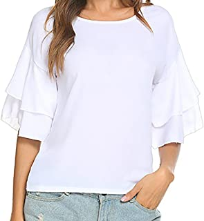 Clearance ! Litetao New ! On Sale ! ! Womens Ruffle Short Sleeve Dolman Drape Top Shirts Casual Chiffon Blouse