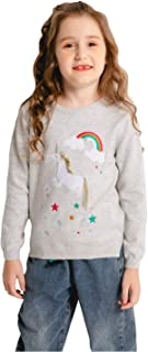 SMILING PINKER Girls Sweater Unicorn Pullover Crew Neck Long Sleeve Cotton Tops Side Split