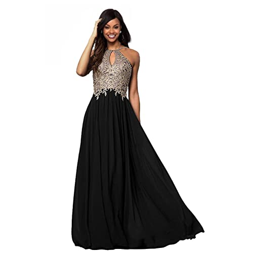 014f047802c65 Lily Wedding Womens Halter Gold Applique Prom Bridesmaid Dresses 2019 Long  Chiffon Evening Formal Gown