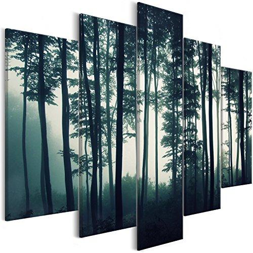 murando Cuadros Impresos en Lienzo Que Brillan en la Oscuridad 225x112 cm 5 Piezas Noche y día Cuadros de Pared Pinturas fosforescentes Lienzo de Tejido no Tejido Bosque Niebla c-B-0357-ag-m