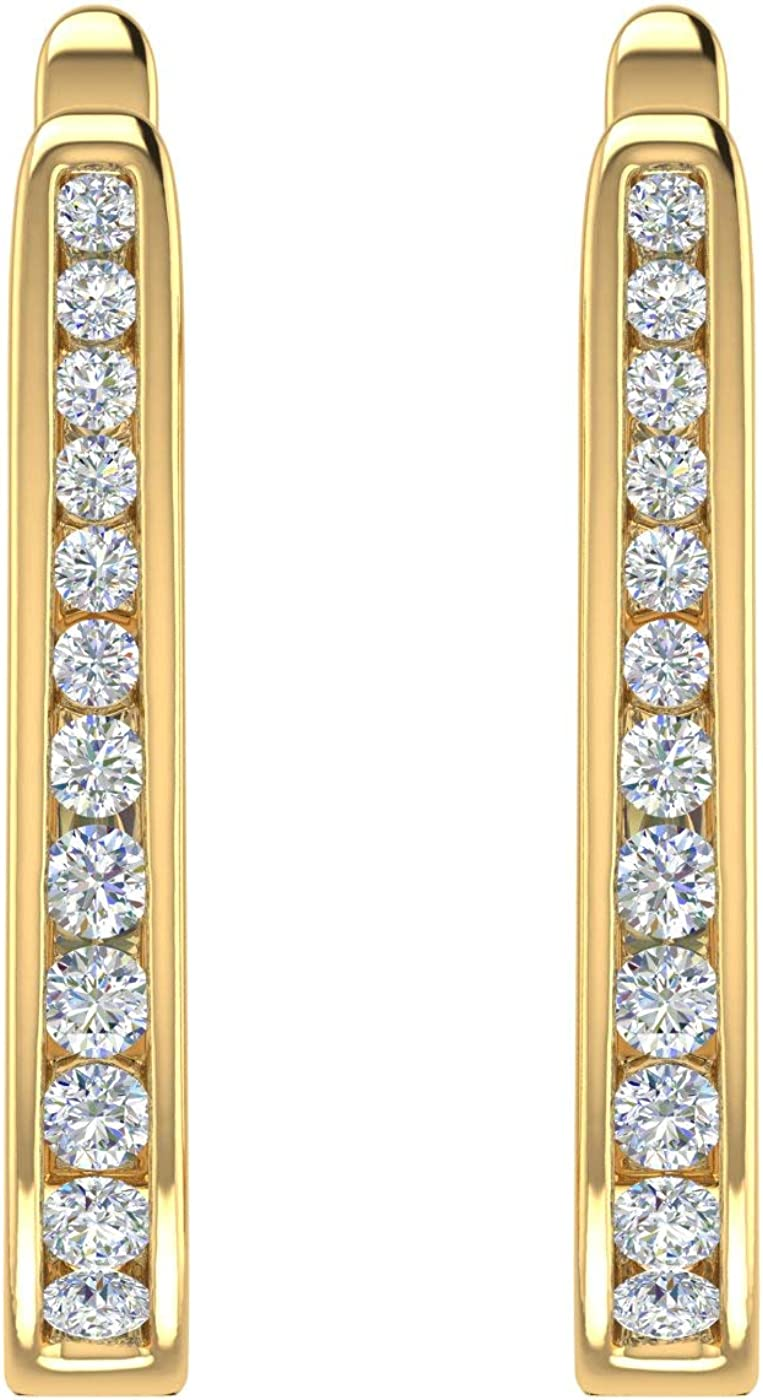 1/4 Carat to 1/2 Carat Diamond Hoop Earrings In 14K Gold