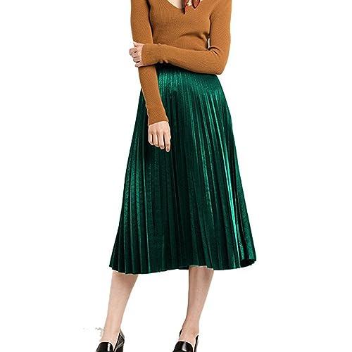 d61bc8121998 MUMUBREAL Women's Vintage Velvet Pleated High Waist Midi Calf A-line Skirt