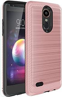 LG Aristo 3/Zone 4/Aristo 2/Aristo 3+/Tribute Empire/Tribute Dynasty/Aristo 2 Plus/K8+/K8 2018/Fortune 2 Case,Tempered Glass Screen Protector,Hybrid Dual Layer Case for LG Phoenix 4/Rebel 4-Rose Gold