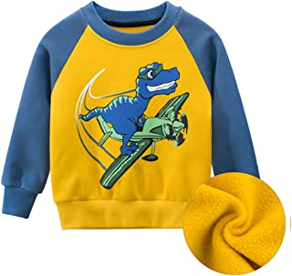 Curipeer Toddler Boys Long Sleeve Sweater Cartoon Dinosaur Pattern Kids Sweatershirt