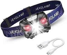 Linterna Frontal LED USB Recargable 1200mAh, Linterna Cabeza 8 Modos Sensor de movimiento, Linternas LED alta Potencia 600...