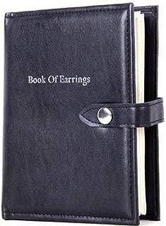 OLizee 48 Pairs Portable Earrings Book Jewelry Display Organizer Ear Studs Storage Book(Black)