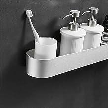 Ponsvrije badkamer wc-plank, wandmontage zwarte badkamer toilet ijdelheid handdoek opbergrek, badkamer, keukenrek-mat 50cm...