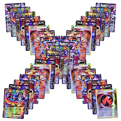 Jialili 100 Poke Cards Style Holo EX Full Art :20 GX+20 Mega+1 Energy+59 EXS Arts Cards, Toy Gifts for Kids and Children