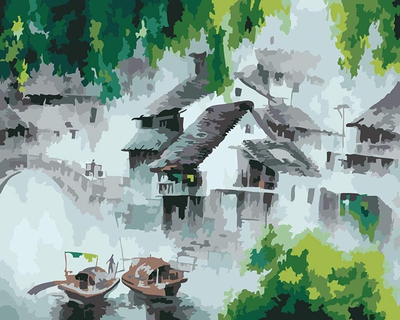 YEESAM ART DIY Paint by Numbers for Adults Beginner Kids, Chinese Ink Dream Water Township 16x20 inch Linen Canvas Acrylic Stress Less Number Painting Gifts