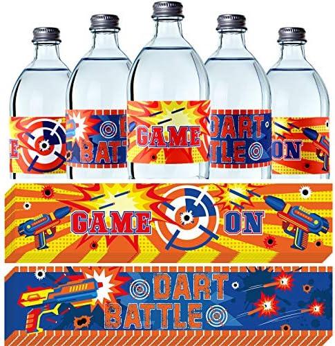 30 Pieces Dart Parties Bottle Wraps Dart Bottle Stickers Waterproof Water Bottle Labels for product image