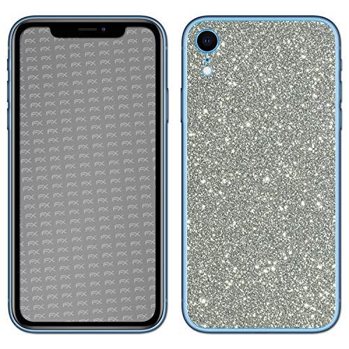 atFolix Skin kompatibel mit Apple iPhone XR, Designfolie Sticker (FX-Glitter-Sterling-Silver), Reflektierende Glitzerfolie