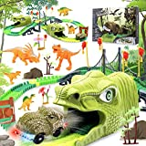 Giocattoli Dinosauro per Bambini 257 Pezzi di Giocattoli Trenino Dinosauro per Ragazzi Ragazze di 3 4 5 6 7 Anni Playset Pista di Auto da Corsa Giocatolo Jurassic World Regalo di Natale di Compleanno