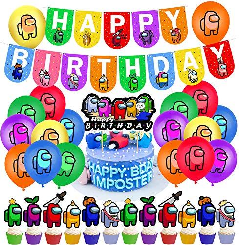 38Pcs Cumpleaños Decoracion de Among Us Globos Pancarta de Feliz Cumpleaños Adornos para Pastel de Juegos para niños Adultos Decoraciones de Fiesta