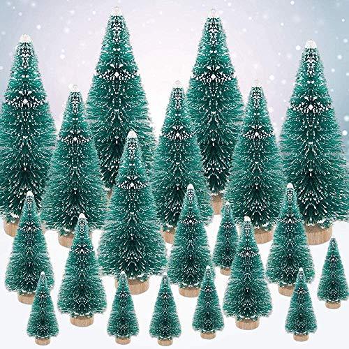 ECHG Árbol de Navidad en miniatura, mini árboles artificiales de hielo de nieve de sisal verde, adornos de invierno de plástico para decoración de mesa de Navidad, manualidades, fiesta, 4 tamaños