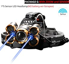 LKSDD LED Head Torch,5LED T6 Headlights, Power Flashlight Headlights, Suitable for Camping, Fishing (18650 Batteries),G