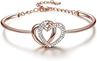 J.NINA ?Guardian of Love? Mother's Day Bracelet Gifts for Women Charming Heart Bracelets Gifts Rose Gold Plated with Crystals from Swarovski Romantic Gift for Her