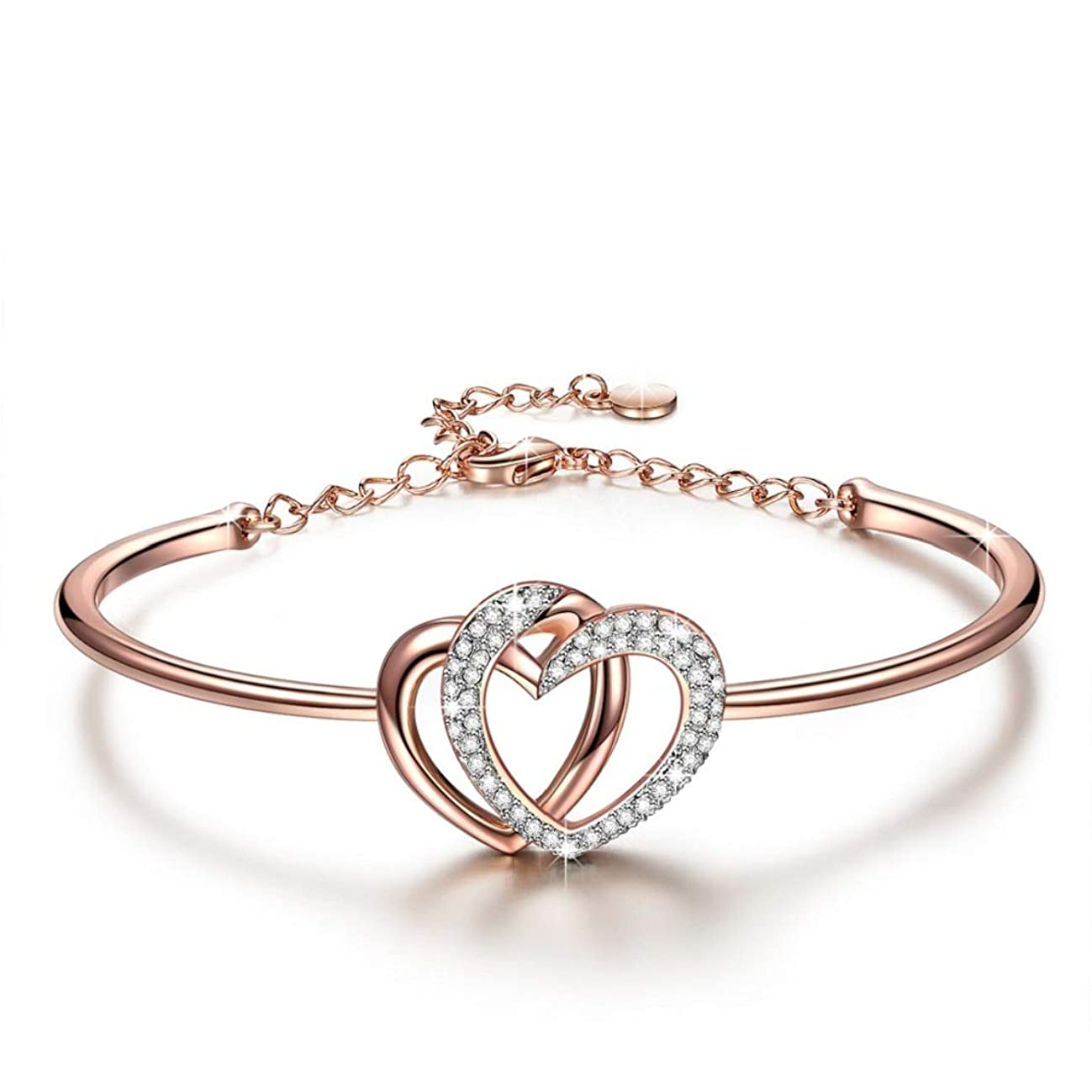 J.NINA ? Guardian of Love ? Charming Heart Bracelet for Women Rose Gold Plated with Crystals from Swarovski ? Romantic Gift for Her ?