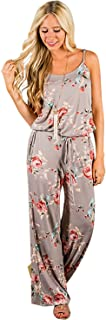 AMiERY Women's Floral Printed Jumpsuits Solid Rompers Casual Comfy Striped Jumpsuit with Pockets