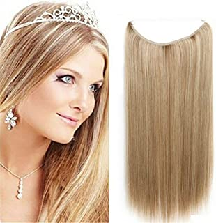 "28cm Straight Halo Hair Extension Invisible Hidden Wire Secret Fish Line Hairpiece No Clip No Tape One Piece Hair pieces for Women 120g 15"" 18# Dark Ash Blonde"