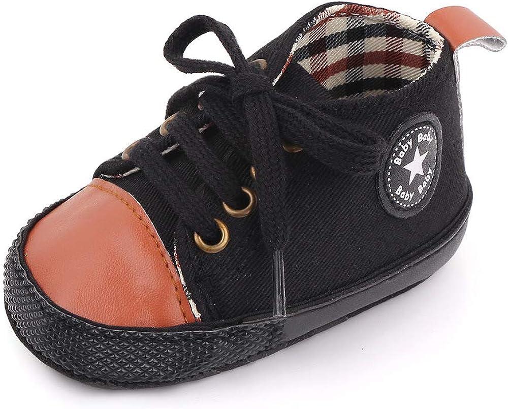 SABATUTU Unisex Baby Boys Girls Shoes Star High Top Ankle Toddler Sneaker Soft Anti-Slip Sole Newborn Infant First Walkers Canvas Denim Crib Shoes (D01-Black&Brown