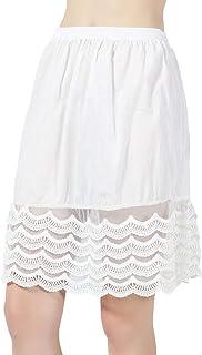 BEAUTELICATE BEAUTELICATE Damen Unterrock 100% Baumwolle Vintage Kurz Halbrock Mit Spitze Stickerei Knielang Dirndl Petticoat Ivory