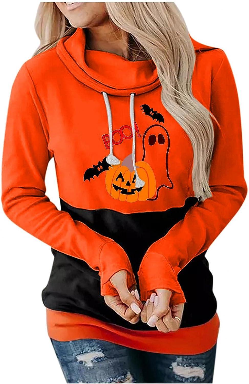 Womens Hoodie Sweatshirt,Pumpkin Print Halloween Skull Long Sleeve Pullover Tops Lightweight Sweatshirt