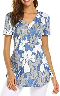 neveraway Womens V-Neck Short Sleeves Stylish Floral Pullover Tunic Tops