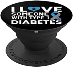 I Love Someone With Type 1 Diabetes T1D Black & Design - PopSockets Grip and Stand for Phones and Tablets