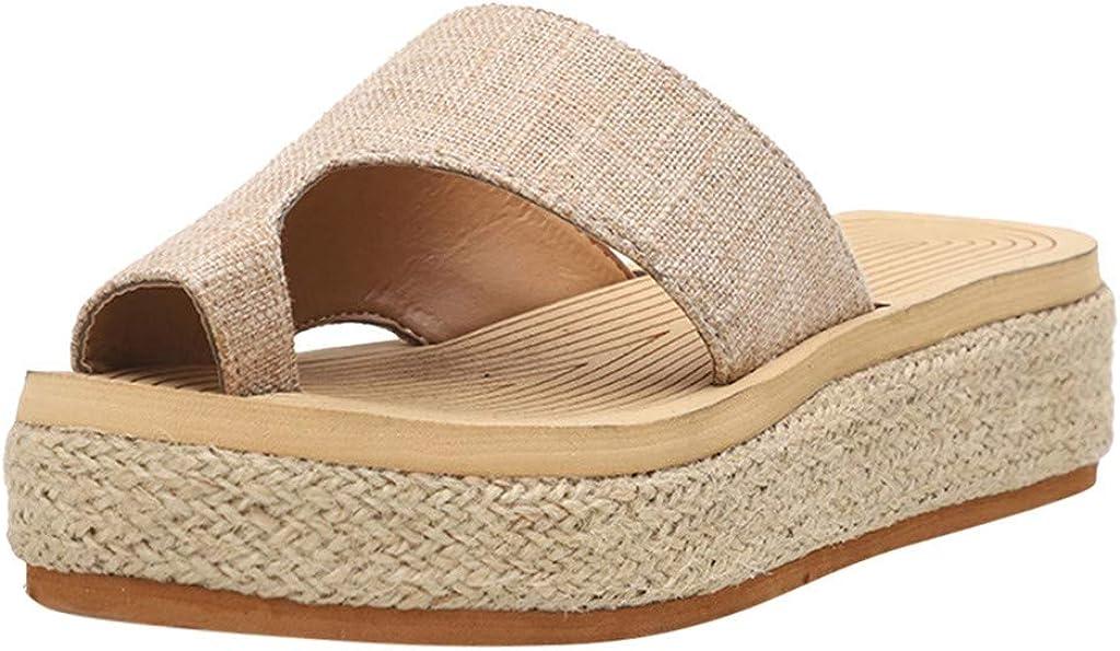 FAMOORE Beach Sandals For Women Summer Women's Shoes Outdoor Casual Beach Thick Bottom Sandals A9-Khaki 7