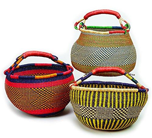 Cesta Bolga Market bolsa de compras (Ghana) paja con asa de piel, uno de varios colores por Bamboula