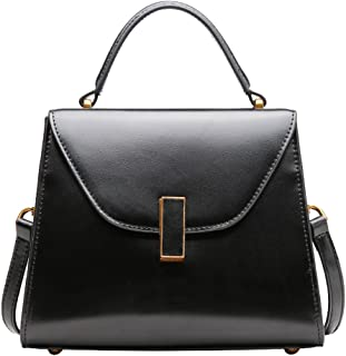 Heshe Leather Shoulder Handbags for Women Designer Ladies Purses Tote Top Handle Bag Cross Body Bag (Black)