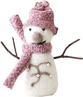 E.SEVEN 100% Handmade Wool Felt Christmas Ornaments Home Décorations (Pink Snowman)