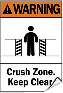 Label Decal Sticker Warning Crush Zone Keep Clear. Hazard Sign Durability Self Adhesive Decal Uv Protected & Weatherproof