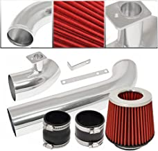 For 1992-1998 BMW E36 3-Series (6 Cylinder Engine ONLY) Aluminum High Flow Cold Air Intake System Polish Pipe with Air Filter Red