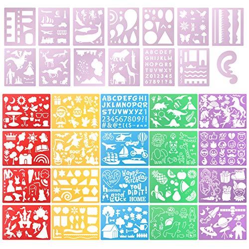 Jucoan Juego de 34 plantillas de dibujo de plástico con más de 500 patrones, letras de animales, flores, dinosaurio, pintura de Navidad, pintura para colorear, kit de...