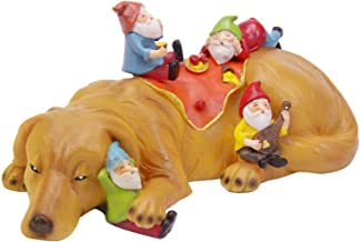 CCOQUS Garden Gnome Figurine Labrador Dog Statue Funniest Gnome Garden Decor Sculpture (Light Brown Yellow)