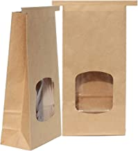 AwePackage 1 Lb(16 oz) Compostable Kraft Paper Tin Tie Bag with Window (50 Pack)