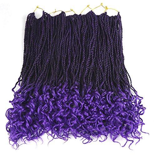 Senegal Wavy Twist Goddess Crochet Senegalese Twist Synthetic KaneKalon Braiding Hair Extention Senegalese Twist Hair 6 Packs (18 inch, T1B/Purple)
