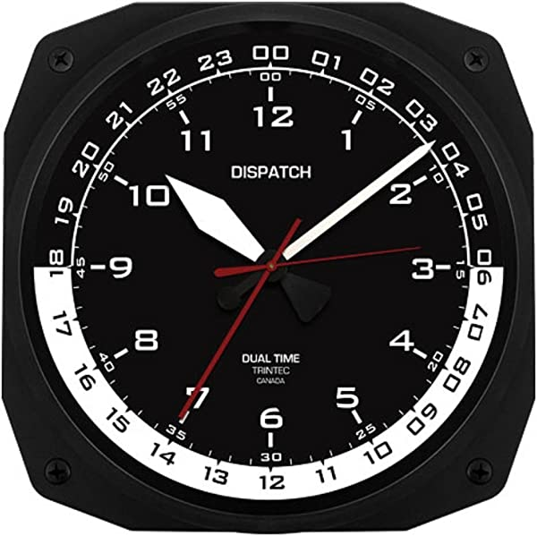 Trintec 12 24 Hour Square Military Time Swl Zulu Time 24hr Wall Clock Black Dial With White Moon DSP 10