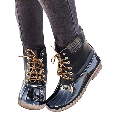 702ff4ac6f1d PiePieBuy Women s Top Fashion Waterproof Combat Rain Duck Boots Shoes Lace  Up Ankle Booties Faux Leather