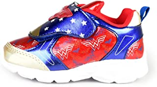 Wonder Woman Girl's Lighted Athletic Shoes (Toddler/Little Kid) Red W/Blue