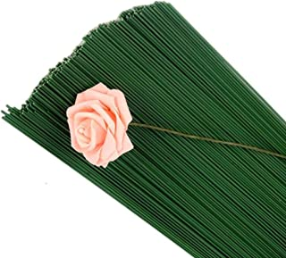Fil de Fer Fleur,100 Pack Vert Stem Wire Floral Stem Fil pour Artifical Fleurs Bouquet de Mariage Décorations Artisanat 40...