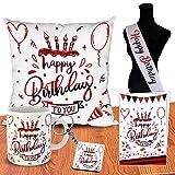 ODDCLICK Happy Birthday to You Sash Gifts Set Cushion Mug Keychain Greeting Card for Husband Wife Boyfriend Girlfriend Brother Sister Friend (Happy Birthday)