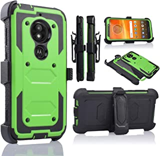 Moto E5 Play Case, Motorola E5 Cruise Holster Clip, Shockproof Heavy Duty Built-in Screen Protector w/Belt Clip Kickstand for Moto E5 Play (Green)
