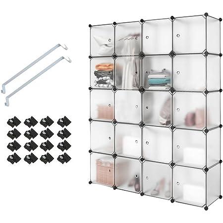 Meerveil Armoire Penderie Portable, Étagère de Rangement, Cubes de Stockage Modulaire en Plastique en métal Stable, Assemblage Facile pour Vêtements, Accessoires, Jouets (Transparent, 20 Cubes)