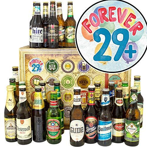 Forever 29 + / Bier Geschenk Welt und DE/Geburtstagswünsche zum 30 Frau/Adventskalender Bier