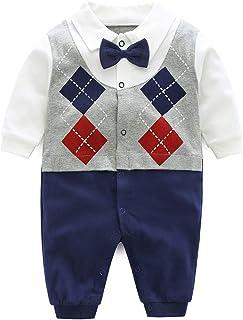PROTAURI Śpioszki dla chłopców Gentleman Style z długim rękawem kombinezon z pidżama dla dzieci 0-12 miesięcy