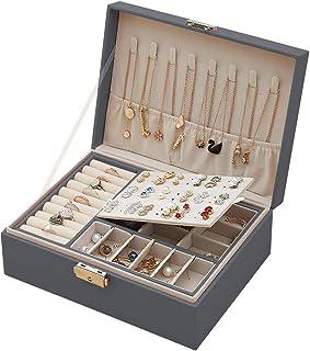 Caja Joyero para Mujer, Joyero Pequeña,Joyero portátil de Viaje para Mujer,Caja de Joyas Cuero con Cerradura 2 Capas Organ...