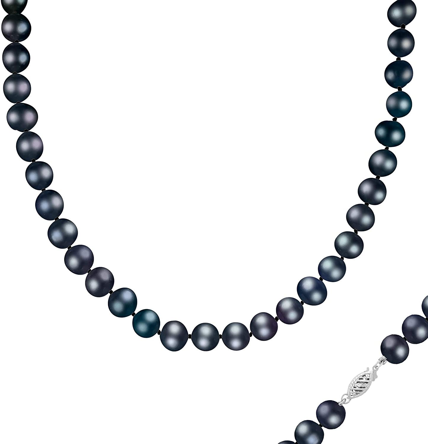Splendid Pearls 14K Gold AA Quality Round Black Freshwater Cultured Pearl Strand Necklace for Women in 24