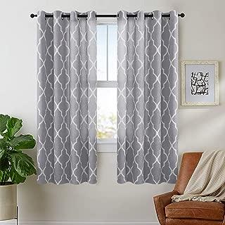 jinchan Quatrefoil Linen Blend Curtains Moroccan Tile Pattern Print Curtain Window Curtain Panels for Living Room Geometry Lattice 72